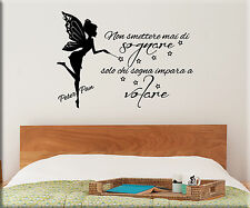 ADESIVI MURALI FRASE PETER PAN WALL STICKERS BAMBINI TATTOO CAMERETTE WS1217