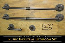 Industrial Bathroom Pipe Set D (2 Towel Racks, Hook, Toilet Paper Holder)