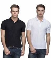 Best Quality White and Black Colour Cotton Polo T-shirts - Pack Of 2
