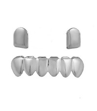 New Custom Fit  Gold Plated Hip Hop Teeth Grillz Caps 2 Top & 6 Bottom Grill Kit