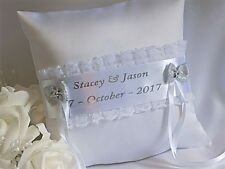 PERSONALISED WEDDING RING CUSHION/PILLOW. White/Ivory with Silver or Gold print