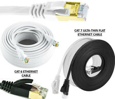 10 Meter RJ45 Cat5e Cat 6 Cat7 Ethernet Network Flat SSTP Gigabit LAN Cable Lot
