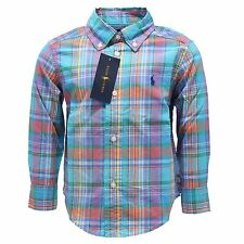 3584S camicia bimbo RALPH LAUREN azzurro multicolor shirt long sleeve kid
