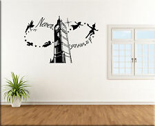 ADESIVI MURALI FRASE PETER PAN WALL STICKERS BAMBINI TATTOO CAMERETTE WS1249