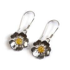 Amber and Silver Buttercup Flower Hook Earrings
