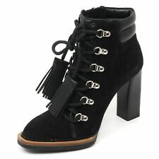 B9126 tronchetto donna TOD'S T105 scarpa ganci nappine nero shoe boot woman