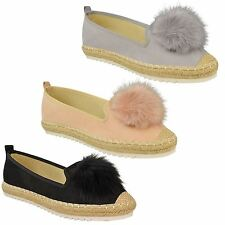NEW LADIES WOMENS ESPADRILLES DOLLY POM POM SLIP ON SUEDE PUMPS SHOES SIZE