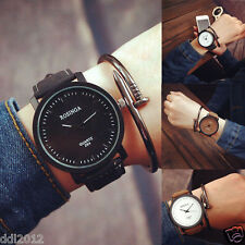 Fashion Mens Women's Simple Retro Watches Leather Band Analog Quartz Wrist Watch