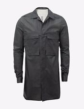 New Rick Owens Black Coated Cotton Field Shirt RRP £475 Made in Italy BNWT