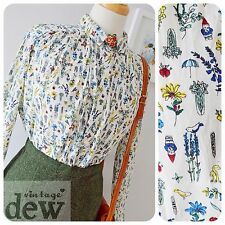vintage style NOVELTY PRINT blouse 1930's 40's 100% COTTON oversized loose bnwt