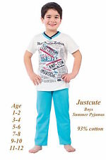 Boys Kids Toddlers Summer Pyjamas short sleeved 93% Cotton  Pjs 1 to 12 Years