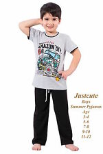 Boys Toddlers Kids Summer Pyjamas short sleeved  Black & Grey Pjs 1 to 12 Years
