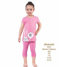 Girl's Summer Pyjamas short sleeve 93% cotton rich cool pink Pjs 5 to 12 Years