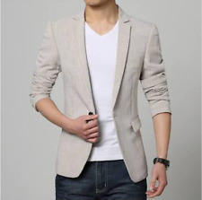 Men Slim fit Linen Blazer Coat Jacket Suit + Coat Cover