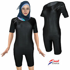 Ladies Womens Premium Muslim Islamic Black Stretchy Leotard Swimwear Bodysuit ■