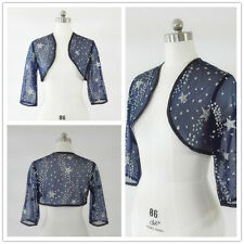girl Lace Bolero pour robes de mariée Soirée shawl jacket coat 3/4 sleeves blue