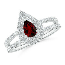Split Shank Pear Garnet and Diamond Double Halo Ring