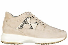 HOGAN SCARPE SNEAKERS DONNA CAMOSCIO NUOVE INTERACTIVE DOUBLE POIS BEIGE 830