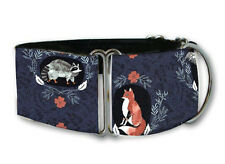 Woodland critters navy dog collar by Collarology