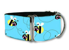 Blue bumble bee dog collar by Collarology