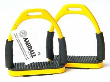 FLEXI SAFETY STIRRUPS HORSE RIDING BENDY IRONS STAINLESS STEEL YELLOW BNWT