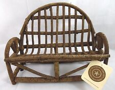 BOYDS BEARS WIDE HANDCRAFTED WILLOW BENCH FURNITURE FOR 2 BEARS  NEW WITH TAG!