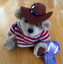 NEW Brass Button Bears Plush CODY THE BEAR OF FRIENDSHIP 1996 Cowboy Flag USA