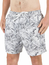 Calvin Klein Men's Medium Jungle Print Logo Swimshorts, White