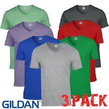 3 x Gildan MEN'S T-SHIRT V-NECK SOFT TOUCH COTTON GYM SUMMER TSHIRTS TOPS 3 PACK