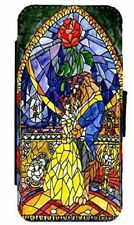 Beauty and The Beast Stained Glass Art Leather Flip Case For iPhone & Samsung