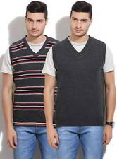 Arrow Sports Striped V-neck Casual Mens Reversible Grey, Blue(Flat 50% OFF) -9K6