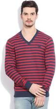 Flying Machine Striped V-neck Casual Mens Sweater (Flat 50% OFF) - D0I