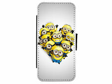 MINIONS Love Heart Leather Flip Phone Case Cover for iPhone & Samsung D21