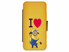 MINIONS I Love Leather Flip Phone Case Cover for iPhone & Samsung D12