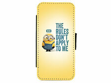 MINIONS Bob - The Rules Dont Apply To Me - Leather Flip Phone Case Cover  D8