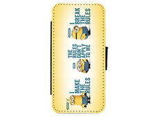 MINIONS QUOTES Leather Flip Phone Case Cover for iPhone & Samsung D7