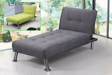 1 Seater Sofa  Bed Chaise Longue Modern Fabric Upholstered in Grey Green Colour