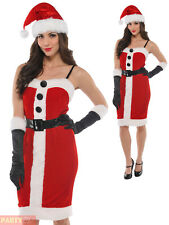 Ladies Mrs Santa Claus Costume Adults Christmas Jolly Holly Fancy Dress Outfit