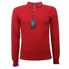 C1398 polo uomo RALPH LAUREN SLIM FIT rosso polo t-shirt long sleeve men
