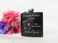 Personalised Poker Diamonds Hip flask great for birthdays trophies etc HF28