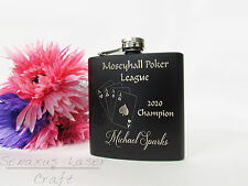 Personalised Poker Aces Hip flask great for birthdays trophies etc HF29
