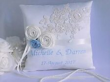 Personalised Luxury Wedding Ring Cushion. Choice of 15 colours with names & date
