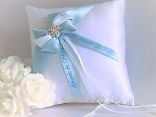 Personalised Luxury Wedding Ring Cushion. In 6 colours with diamante brooch.