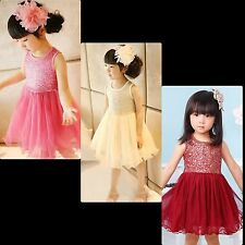 Baby Girls Dresses Skater Tutu Princess Sequins Party Birthday Pageant Wedding