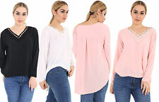 Summer Womens Casual V-Neck Long Sleeve  Loose Blouse T-Shirt Ladies Tops 8-14