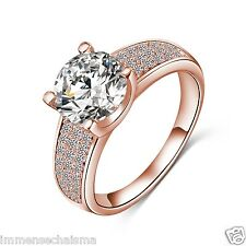 Rose Gold Plated Party Festive Fashion Wear AAA Zircon Ring For Women R2045-48