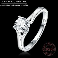 925 Sterling Silver Classic Round Ring Jewelry gift cubic zirconia zircon
