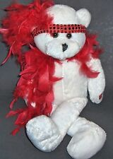 CHANTILLY LANE ROXIE WHITE TEDDY BEAR RED BOA SINGS i WANNA BE LOVED BY YOU NWOT