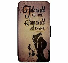 BEAUTY AND THE BEAST DISNEY CARTOON BELLE FAUX Leather Flip Case iPhone Samsung