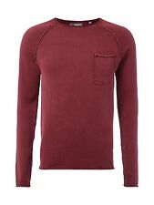 !Solid Strickpullover im Washed Out-Look Herren Strick Bordeaux Rot NEU